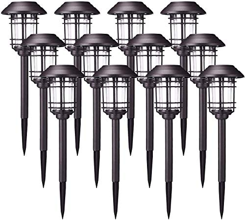 AZIRIER Solar Lights Outdoor Waterproof Security Lights Easy Install Garden Lights for Garden Path Walkway Light 12 Pack