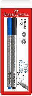 Caneta Ponta Fina Fine Pen 0.4mm 2 Unidades, Faber-Castell, Preto/Azul