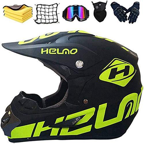 WLPAK DOT Motocross Helmet, BMX MX ATV Dirt Bike Helmet, Offroad Helmet Dirt Bike ATV Motorcycle Helmet (Gloves, Goggles, Mask,Motorcycle Net,Towel,6 Piece Set) (A)