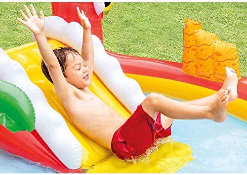 LYATW Piscina del Dinosaurio Rojo Castillo Inflable Infantil con toboganes, Inflable de niños de Agua de los hogares Spray bebé Piscina for niños, Espesado de Gran tamaño del baño