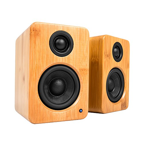 """Kanto 2 Channel Powered PC Gaming Desktop Speakers – 3"""" Composite Drivers 3/4"""" Silk Dome Tweeter – Class D Amplifier - 100 Watts - Built-in USB DAC - Subwoofer Output - YU2BAMBOO (Bamboo)"""