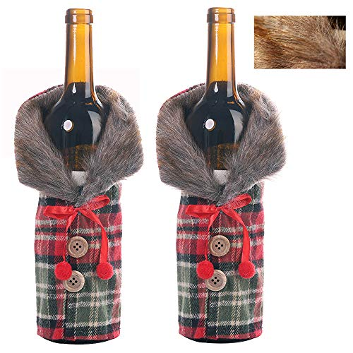 ZMCOV Weinflaschenabdeckung Dekorative, Kunstpelz Manschette Pullover Weinflaschenhalter Beutel Taschen Für Rustikale Hochzeitsessen Party Weihnachtsfeier Ornament,A,2pcs