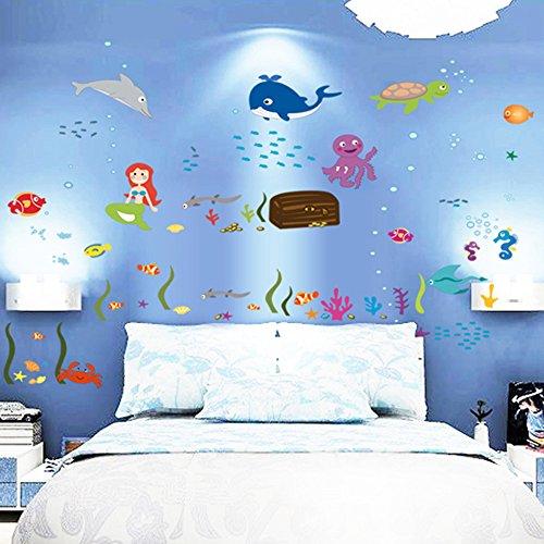 Stickers muraux winhappyhome Worlds Océan Sticker pour chambre d'enfant Salon Chambre fond amovible Art Stickers Decor