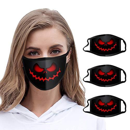 Btruely 4X Halloween Herren Mundschutz mit Motiv Waschbar Wiederverwendbar Mund und Nasenschutz Halstuch (rot)