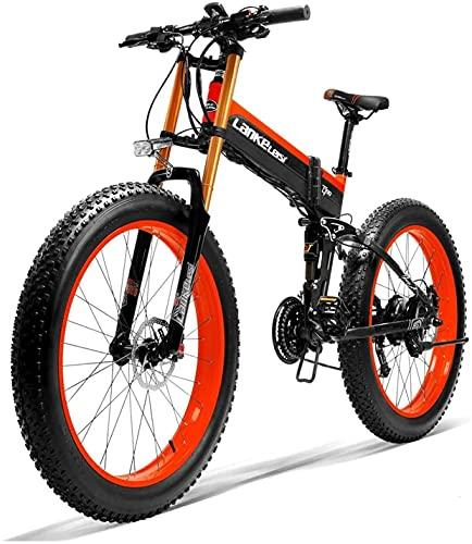 Haowahah Lankeleisi bicicleta eléctrica completa bicicleta eléctrica plegable bicicleta eléctrica 26 pulgadas 4.0 neumático grande 750plus 48V 14.5ah 1000W actualización tenedor (rojo, una batería)