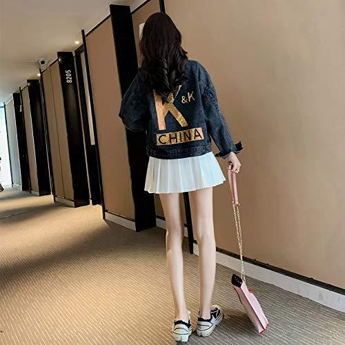 NZJK Fashion Casual Wild Black Denim Jacket Vrouw Korte Losse Tooling Jacket Vrouw