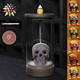Waterfall Incense Burner Skull Decor Backflow Ceramic Incense Holder Incense Fountain with 120 Backflow Incense Cones for Home Decor Office Yoga Aromatcherapy Ornamen