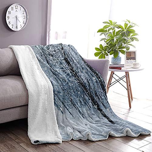 LanQiao - Manta de lana de cachemira para invierno, diseño de bosque en nieve, congelación del tiempo congelado de la selva árida, 60 x 70 pulgadas, color negro, gris y blanco