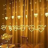 LED Liebe Vorhang Lichterkette2,5 m LED Herz Vorhang Lichter swith 8 Blinkmodi für Gartenhaus, LED-Sternvorhang dekorative Weihnachtsvorhangdekoration Valentinstag, Raum undFamiliendekoration