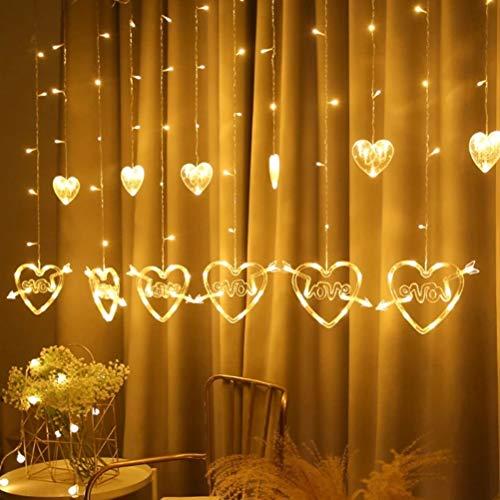 NEWMAN771Her Cadena de luces LED, diseño de corazón de Navidad, cadena de luces LED para bodas, San Valentín, fondo de TV, decoración de bodas, fiestas, jardines de casa
