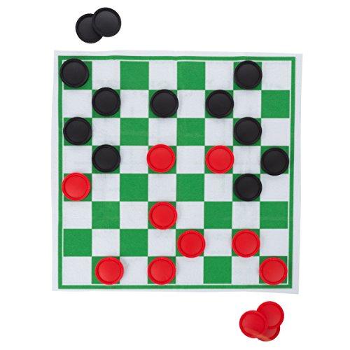 HEY! PLAY! Riesen-Spielteppich mit Schachbrettmuster und Tic Tac Toe, doppelseitig, faltbar, mit Spielelementen für Jungen und Mädchen