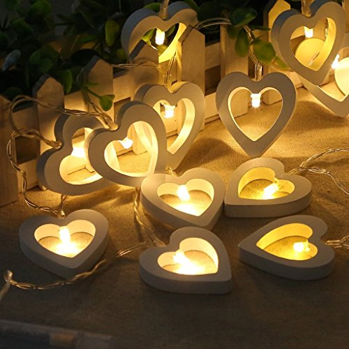 10 LED Lights Wooden Love Heart Fairy Lights Battery Operated Decorative String Lamp for Valentine's Day Wedding Garden Bedroom Festival Birthday Party Decoration