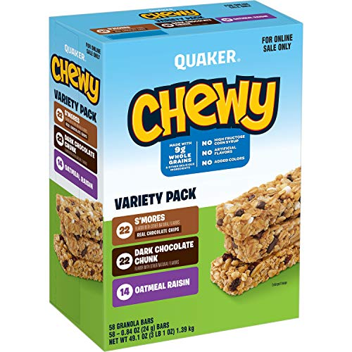 Quaker Chewy Granola Bars, 3 Flavor Back to School Variety Pack, (58...