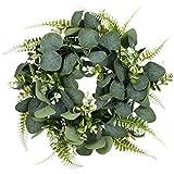 """Eucalipto Artificial Guirnalda Planta, Kapmore 11,8"""" Corona de Navidad Eucalyptus Guirnaldas para Navideñas Fiesta de Bodas Fondo Pared Decoración (Verde 2)"""