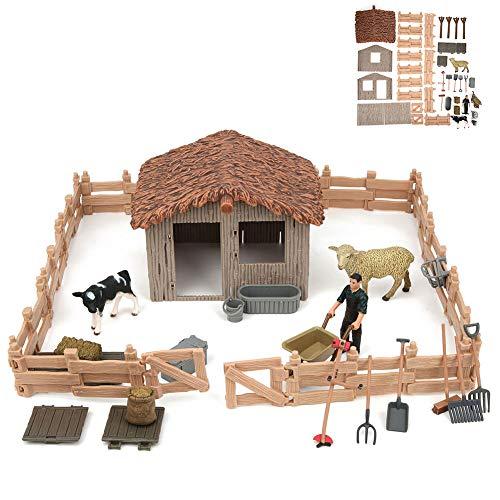 Agregue más Modelo de Escena Animal de simulación Divertida, Material plástico, Juguetes educativos Bonitos para niños, Modelo de Escena Animal, para la(Fenced Homes 53)