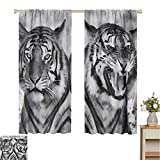 curtains for living room Safari,Cat Expression Opposite Images Fearsome Teeth Mirror Angry Intense Wildlife,Pale Grey Black,Thermal Insulated Light Blocking Drapes for Bedroom 84'W x 84'L