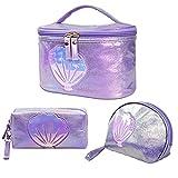 3Pcs Makeup Bags, Portable Travel Cosmetic Bag Organizer for Women Girls, Cute Purse Toiletry Bags, Washable Waterproof (Purple)