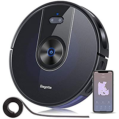 """Robot Vacuum, Bagotte BG800 Wi-Fi Connected Robotic Vacuum Cleaner with Mapping, 2200Pa Strong Suction, Gyroscope Precise Navigation, 2.7"""" Super-Thin, Cleans Pet Hair, Hardwood Floors & Carpets"""