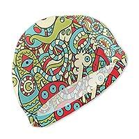 子供スイムキャップ 面白い 落書き モンスター 水泳帽 キッズ スイミングキャップ プール帽 水泳キャップ 男児 女児 スクール水着 UVカット スイミング帽子 こども 伸縮性良い 滑りにくい フィットネス 幼児 フリーサイズ スイムウェア