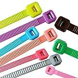 100 x Kabelbinder verschiedene Längen und Farben, Farbe:Orange, Größe:100 x 2.5 mm