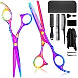 Senbos Professional Hair Cutting Scissors Set, 11Pcs Stainless Steel Thinning Scissors Straight Shear Hairdressing Scissors Sets with Cape Clips Combs Hair Brush Leather Case for Barber Salon and Home