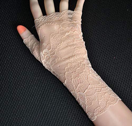 Charm4you Braut Hochzeit Handschuhe,Dünnschliff Fingerlose Mesh-Spitze Mode-Champagner,Hochzeitshandschuhe Brauthandschuhe