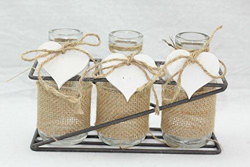 DONGABOWEB 3-delige set glazen vaas met metalen standaard in romantische stijl