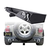 Hunter Rear Bumper for 87-06 Jeep Wrangler TJ & YJ Rock Crawler Black Texture Bumper with Hitch Receiver & 2 LED Lights & 2 D-Rings Off Road