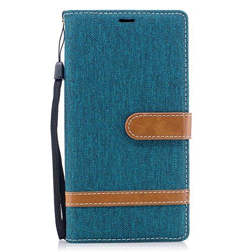ISAKEN Sony Xperia XZ Premium Hülle, Canvas PU Leder Geldbörse Wallet Hülle Handyhülle Tasche Schutzhülle Etui mit Handschlaufe Strap Standfunktion für Sony Xperia XZ Premium - Leinen Grün