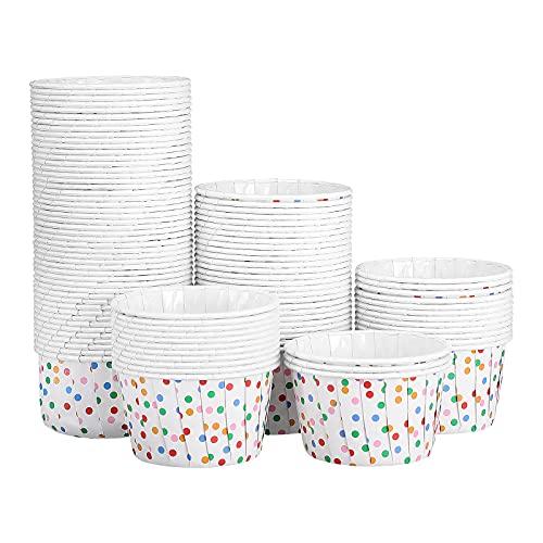 Cabilock - 100 tazze usa e getta per gelato e dolci, per feste e zuppe di yogurt surgelati (puntini colorati)