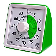 Wynnline 60-Minute Visual Analog Timer - Countdown Clock for Classroom, Kids with Autism, Silent, No Loud Ticking – Kitchen Minute Timer with Low & High, 3 & 60 Sec Alarm, Green