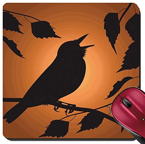 Suqare Mousepad Mauspads / Mat Silhouette des Vogels, der unter dem Laub singt