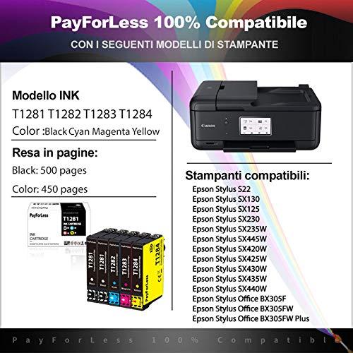 PayForLess T1281 T1282 T1283 T1284 T1285 Tinta Compatible con Epson Stylus SX125 SX130 SX230 SX235W SX420W SX440W SX445W BX305F BX305FW Plus (4 Negro, 2 Rojo, 2 Amarillo, 2 Azul)