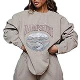 soweilan Damen-Sweatshirt mit Hampshire-Druck, Landschaftsgrafik, Oversize-Pullover, Harajuku-Top Gr. 38, beige