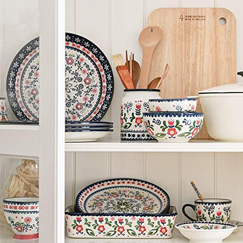 Juegos De Vajillas De Porcelana, estampado étnico Pintura Juego de vajilla de porcelana de 31   Juego de cuencos para cereales y platos para bistec pintados a mano para regalos de boda