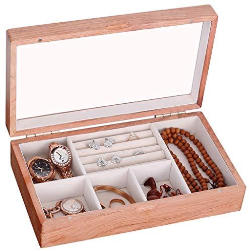 FOLA joyero Cajas Caja de joyería Hecha a Mano de Palo de Rosa, Caja de almacenaje, joyería Caja de Almacenamiento (Naturales de Madera del Color) Adornos Decorativos