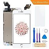 FLYLINKTECH Für iPhone 6 Plus Display Weiß, Ersatz Für LCD Touchscreen Digitizer vormontiert mit Home Button, Hörmuschel, Frontkamera Reparaturset Komplett Ersatz Bildschirm mit Werkzeuge