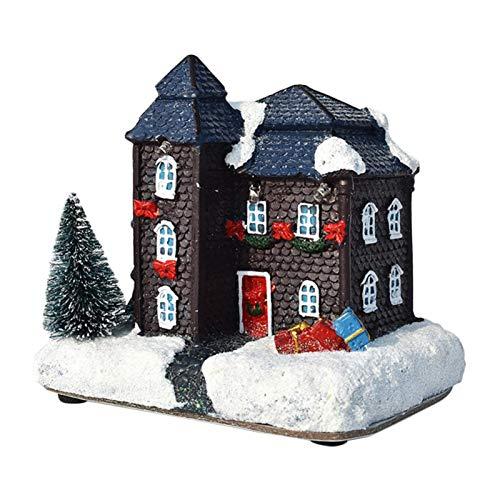 Augneveres Adorno de Navidad luminoso de la casa de la aldea de la nieve para la decoración del hogar, fiesta de la casa, hecho de resina