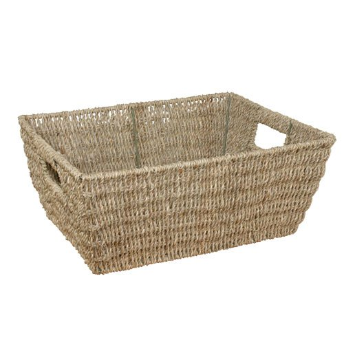 JVL Rectangular Seagrass Storage Basket, 37.5 x 28.5 x 15.5 cm