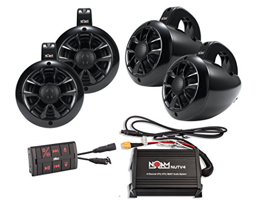 NOAM NUTV4 Quad - 4 Channels Marine Bluetooth ATV/Golf Cart/UTV Speakers...