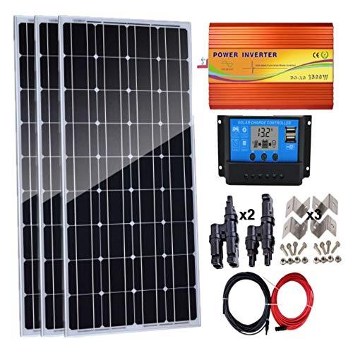 AUECOOR 300 Watt (3 Stück 100 W monokristallines Solarmodul) Solarpanel-Set mit 1500 W Wechselrichter, 30 A LCD Solarregler für Wohnmobil, Boot, Off-Grid 12/24 Volt Batteriesysteme