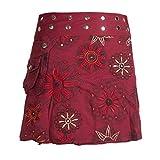 Vishes - Alternative Bekleidung - Damen Wickel-Rock Bedruckt Bestickt Blumen Mandala Gürtel-Tasche dunkelrot 34-40