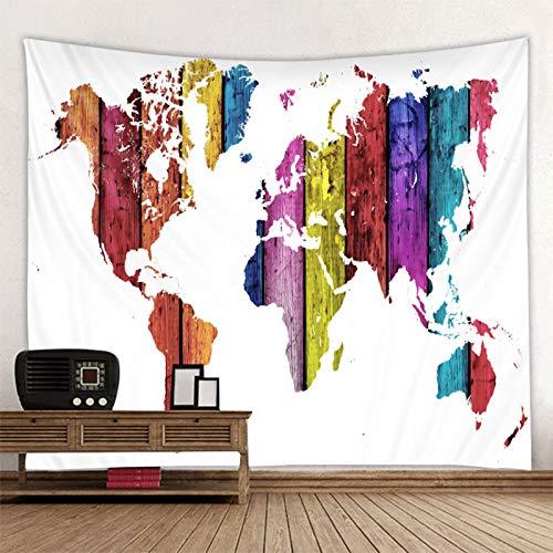 KHKJ Tapiz de Mapa del Mundo con Estampado de Estilo nórdico, Toalla de Playa Colgante, Manta Fina, Bufanda de Yoga, Esterilla A2 95x73cm