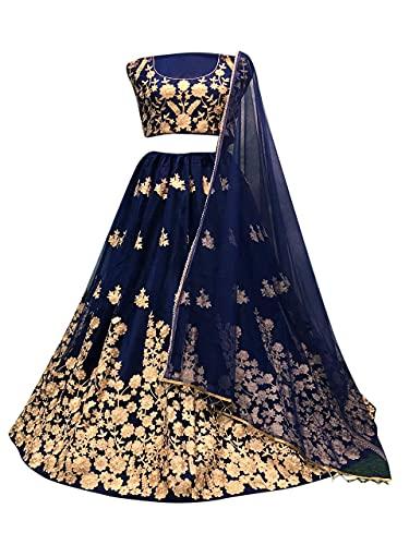 SKY VIEW FASHION Schweres indisches Bollywood-Party, Hochzeit, WearLengha Ethinc Lehenga mit ungenähtem Choli, Marineblau, 42