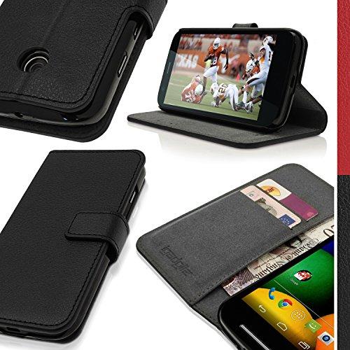 igadgitz U3016 Leder Tasche GeldbörseHüllen Case Kompatibel mit Motorola Moto E XT1021 - Schwarz