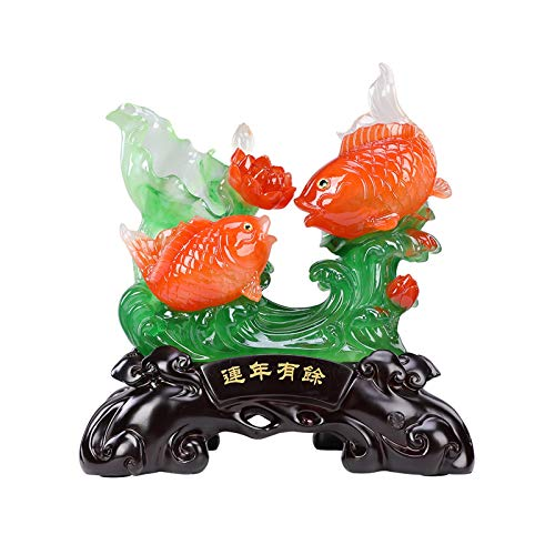 Estatuas de Feng Shui Decoración del hogar adornos creativos riqueza afortunado estatuas carpa estatua feng shui decoración oficina tabletop decoración adornos buenos afortunados regalos Estatua de ri