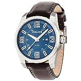 Police Reloj de hombre cuarzo 46mm correa de cuero color marrón caja de acero dial azul 14762JS/03