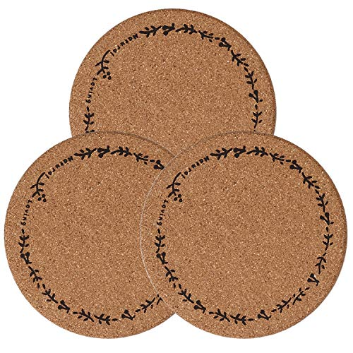 3PCS 75 inch Cork Trivets Set Round Corkboard Trivets with Flowers Cork Hot Pads for KitchenCountertopsHot Dishes Round Cork Placemats