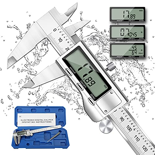 Digital Caliper Micrometer, REEXBON 6 Inch Caliper Measuring Tool, Inch/mm/Fractions Conversion, Stainless Steel Precise Vernier Calipers with Extra-Large LCD Screen