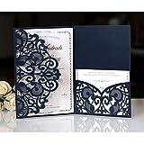BLUGUL 10 Pezzi Matrimonio Invito, Carte di Invito a Nozze, Hollow Floral Design, con 2 Carte Vuote, Blu Navy